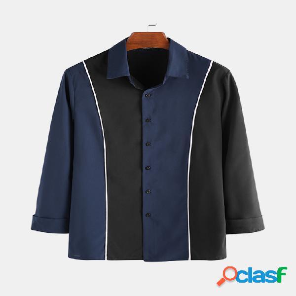 Camisas masculinas de negócios casuais patchwork cor contraste de manga comprida