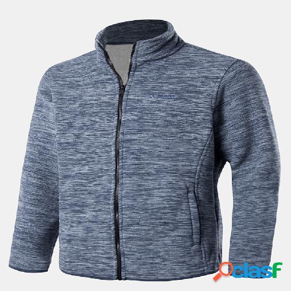 Mens inverno velo forrado quente ao ar livre esporte manga comprida gola jaquetas