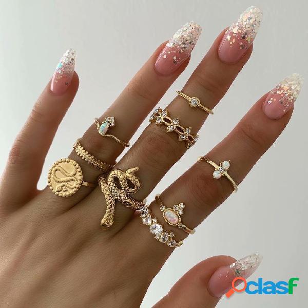 Moeda do vintage padrão anéis anéis de cobra estereoscópica geométrica de metal anéis de embutimento de strass