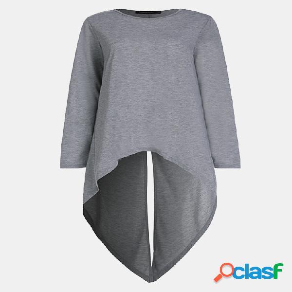 Blusa de cor sólida irregular de manga comprida nas costas