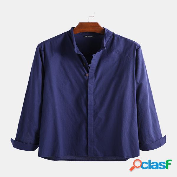 Homens algodão linho cor pura étnica casual gola camisa