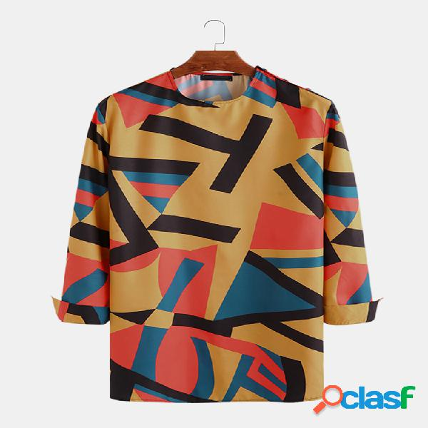 Mens casual geométrica costura cor em torno do pescoço meados camisas longas