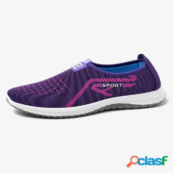 Mulheres esportes soft malha leve respirável antiderrapante sapatos casuais