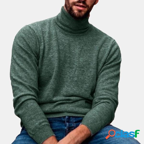 Suéteres de gola alta masculina casual cor sólida malha fina