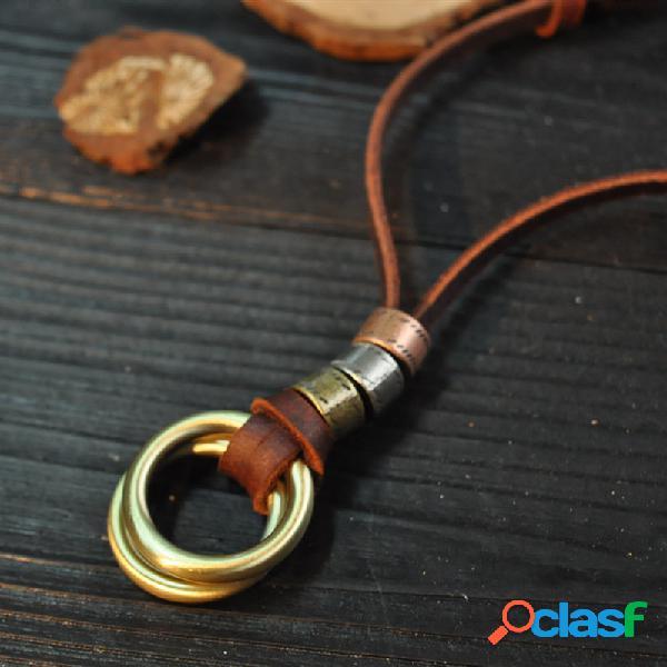 Anéis de metal geométrico vintage pingente colar de couro artesanal de couro corda joias