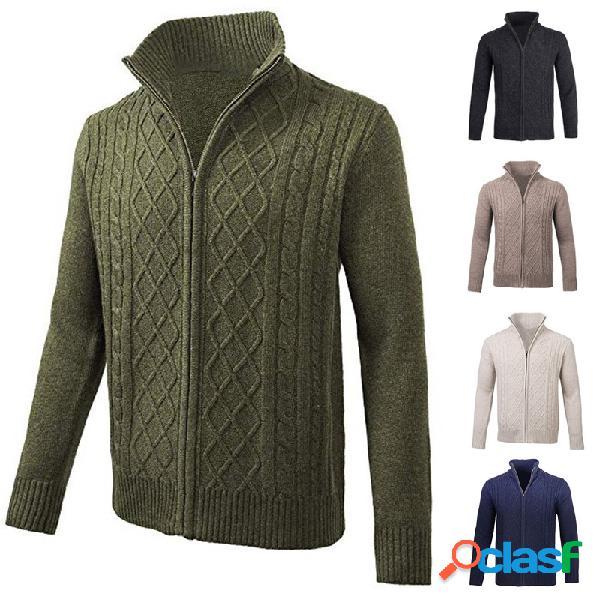 Camisola dos homens casaco de gola cor sólida com zíper manga comprida camisa cardigan