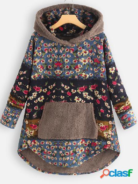 Bolsos com estampa floral patchwork de lã plus moletom