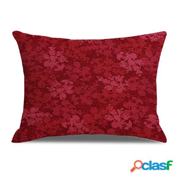 Capa de almofada de linho estampada floral clássica em cor sólida