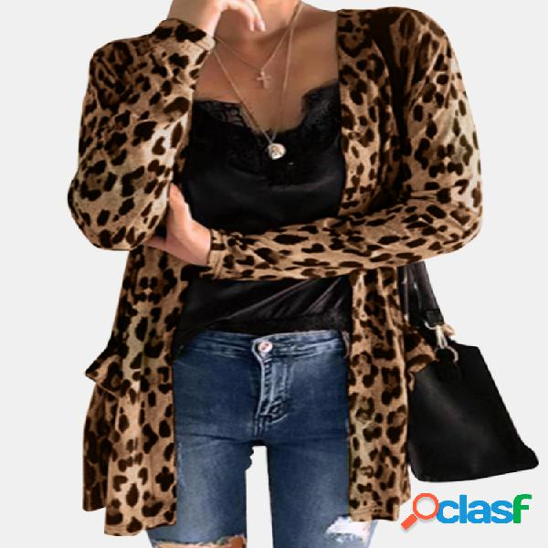 Cardigan de manga comprida com estampa de leopardo plus com bolsos