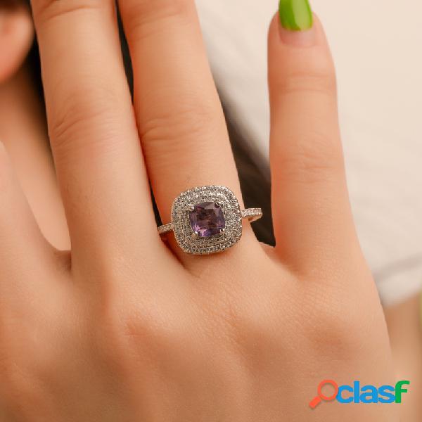 Luxo geométrica quadrado anel de strass temperamento micro-embutido zircon anel na moda jóias