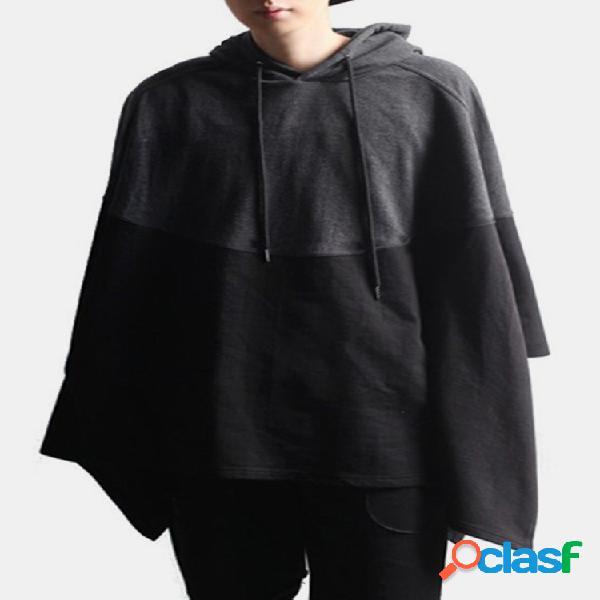 Mens plain costura cor manto irregular hem moletons com capuz