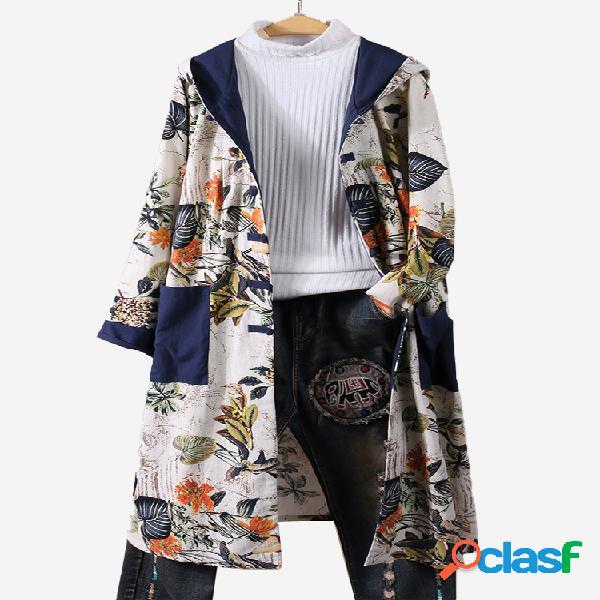 Casaco impermeável de patchwork floral vintage com capuz tamanho plus