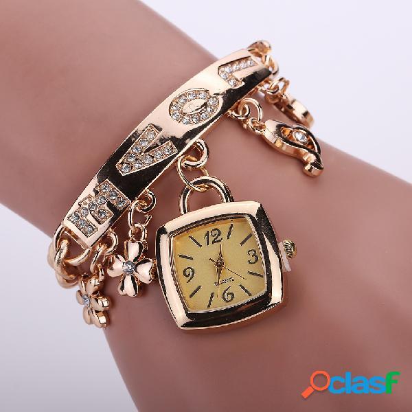 Flor geométrica borla pingente relógio incrustado com strass love relógio de quartzo quadrado