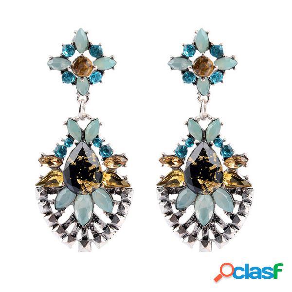 Gota de água do vintage gem pingente brincos geométrica flor de cristal stud brincos jóias chiques