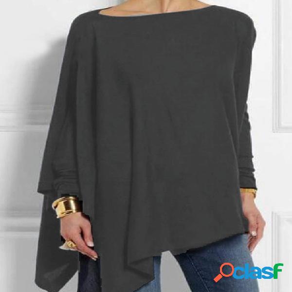 Manga comprida irregular de cor sólida em volta do pescoço camisa