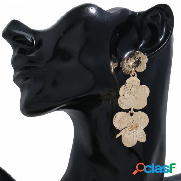 Na moda metal flor exagerada brincos geométrica longa pingente brincos vintage jewelry