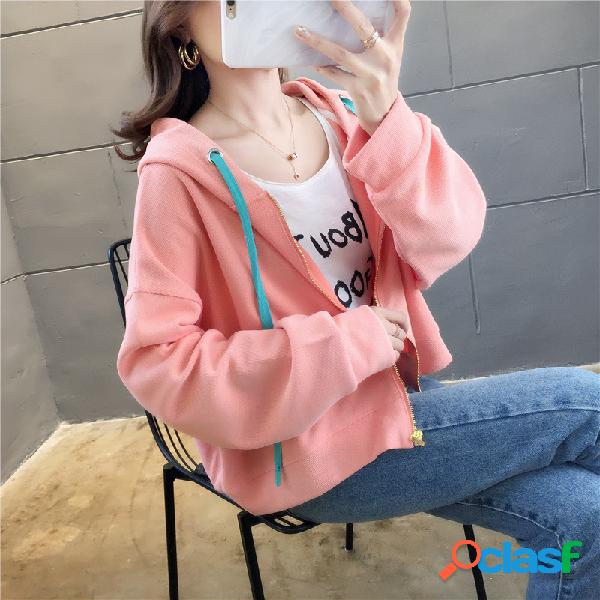 Camisola curta de mangas compridas com capuz solta de algodão