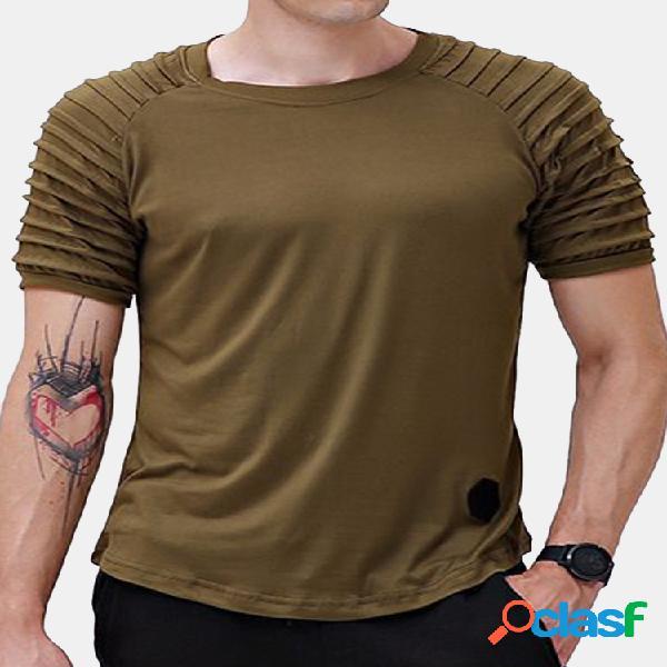 Masculino verão respirável cor sólida com gola o manga curta camisas finas de algodão casual