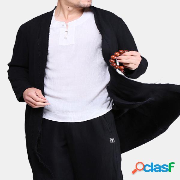 Mens estilo chinês mid-long trench coats primavera outono algodão linho cardigans de cor sólida