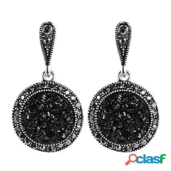 Brincos de gota de ouvido do vintage de cristal preto rodada geométrica dangle jóias étnicas para as mulheres