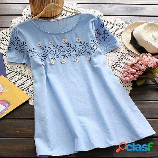 Camisas femininas com decote redondo e cor sólida com bordados soltos