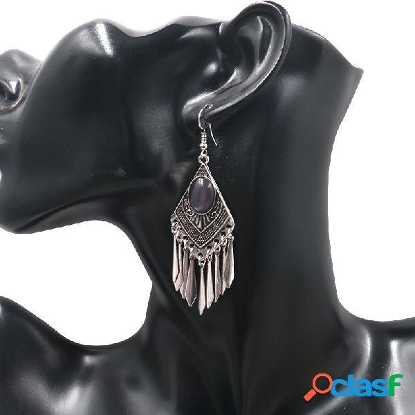 Orelha vintage brinco gota losango tessals geométrica pingente dangle jóias étnicas para as mulheres