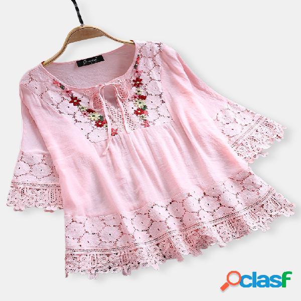 Moda lace patchwork bow blusas para mulheres