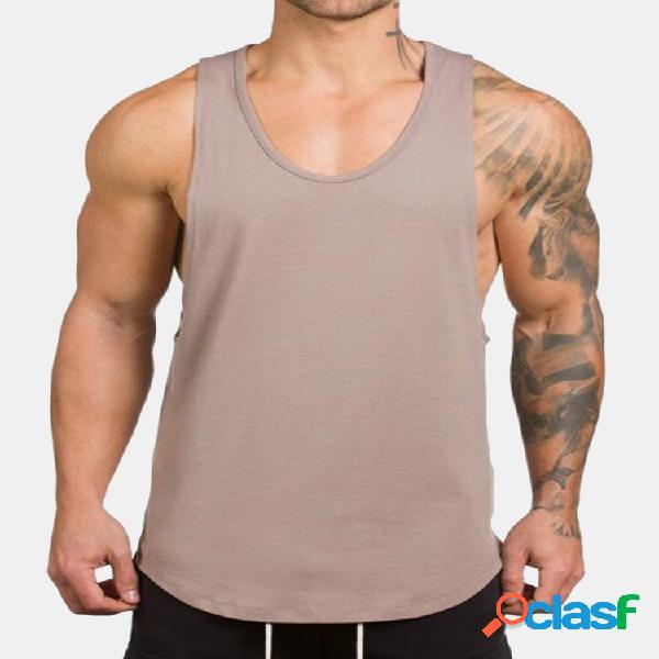 Camiseta regata sem mangas de algodão respirável solta