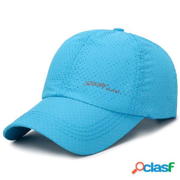 Homens mulheres verão cor sólida malha respirável boné de beisebol tecido secagem rápida ao ar livre moda sol cap