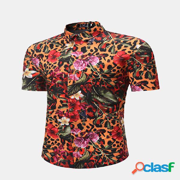 Manga curta flor impressão verão havaiano camisa para homens