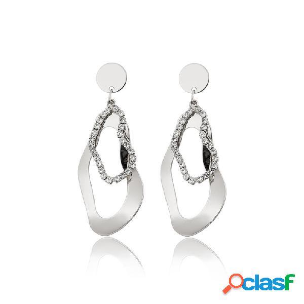 Moda brincos de gota de ouvido oco irregular geométrica rhinestone pingente oscila para as mulheres