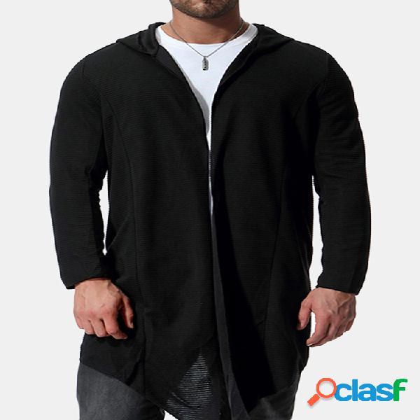 Vintage com capuz mid long loose solid color manga comprida cardigan para homens