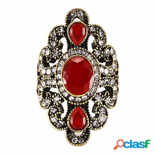 Anéis de dedo do vintage gemstone rhinestone oco oval geométrica anéis jóias étnicas para as mulheres