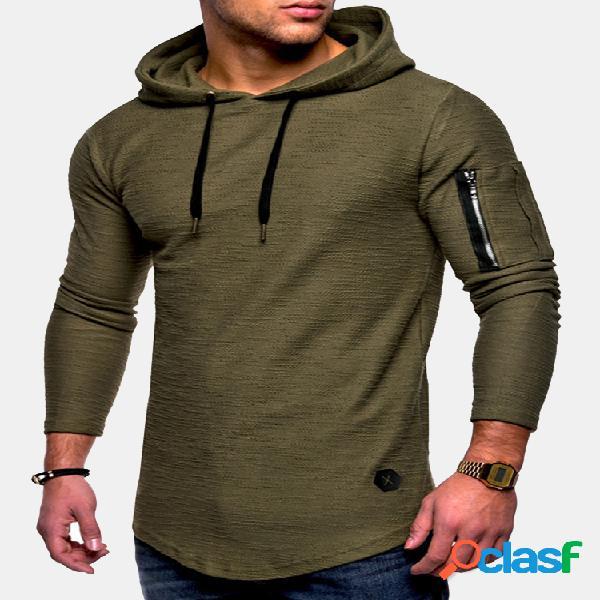Masculino respirável cor sólida irregular bainha com decote em o, manga comprida camisetas finas com capuz casual
