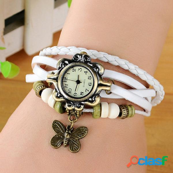 Relógio de pulso de quartzo do vintage relógio de pulso borboleta multicamadas frisado relógio multicamadas jóias étnicas para as mulheres