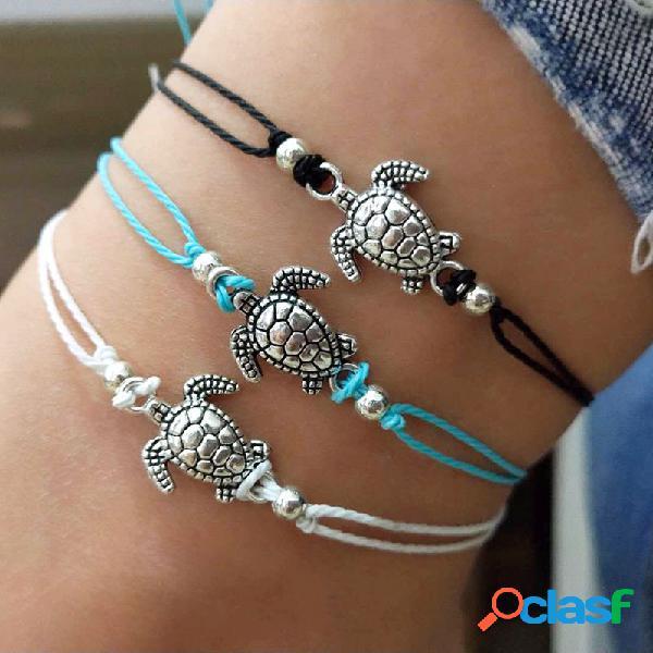 Bohemian turtle tornozeleiras cera ajustável corda preto azul branco tornozelo pulseira tornozelo anel pés joias