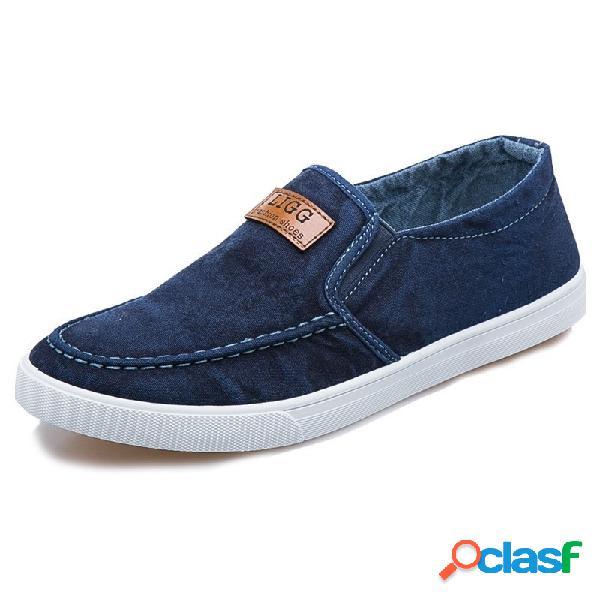 Homens lona bereathbale flat soft soft deslizamento em sapatos casuais