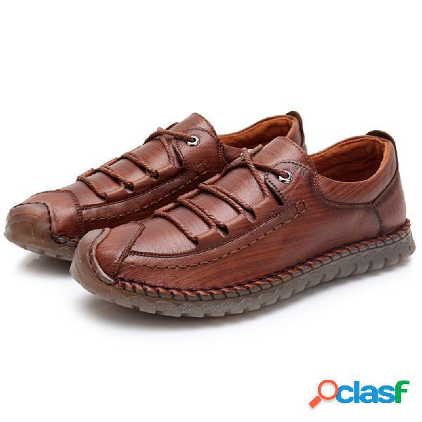Homens mão stitching couro anti-colisão soft sola calçados casuais