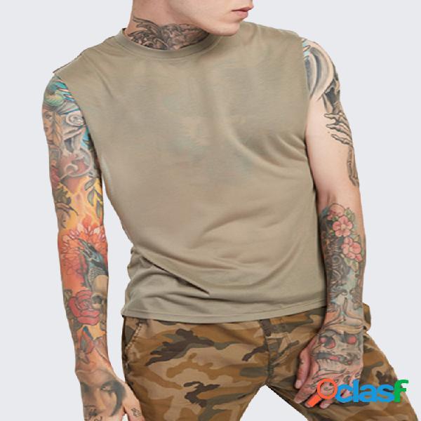 Mens sport tops sem mangas cor sólida confortável colete de algodão casual