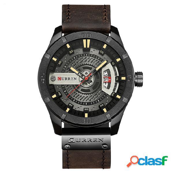 O relógio de quartzo de relógio de exibição de data de curren olha relógios de couro de negócio de steampunk para homens