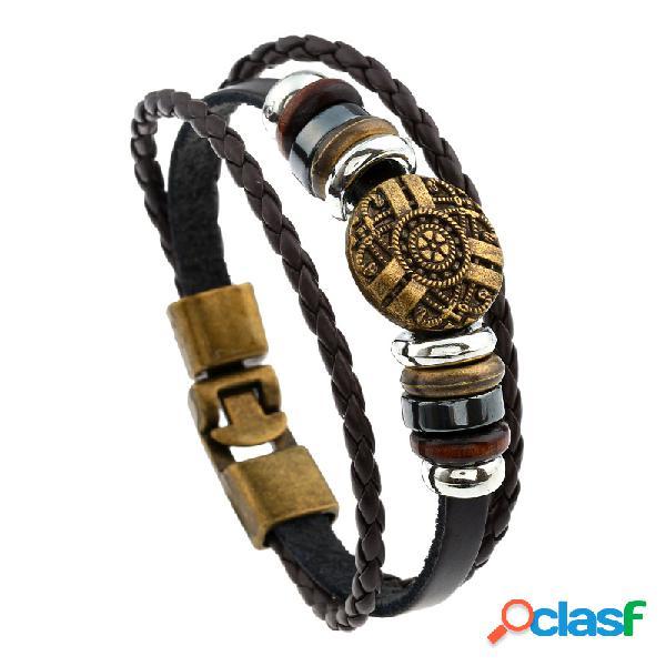 Pulseira geométrica multicamada casual vintage de couro trançado corda pulseiras para homens e mulheres