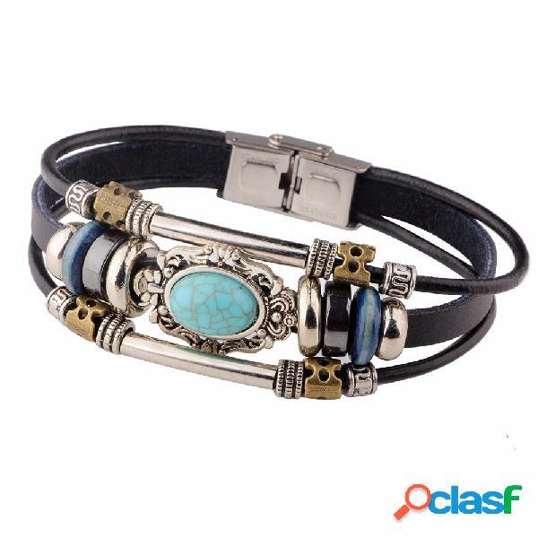 Pulseiras multicamadas vintage oval azul irregular geométrica pulseira de couro jóias étnicas para homens