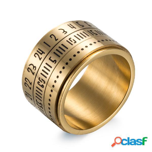 Aço titanium simples aço inoxidável 316l loop numeral anel de dedo unisex jóias