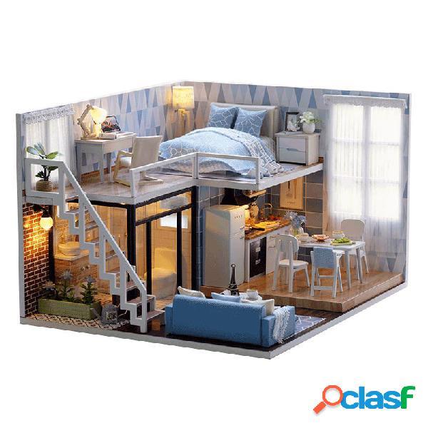Casa blue time faça você mesmo com móveis música tampa para luz em miniatura decoração de presente