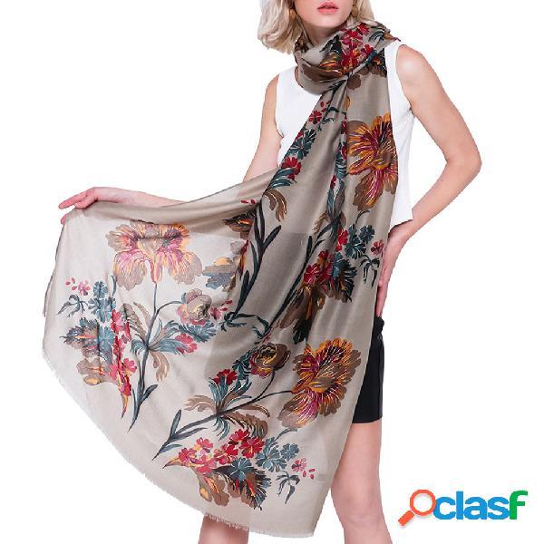 Mulheres estilo étnico lençóis de algodão respirável flor quente lenço 180 * 90 cm oversize xaile