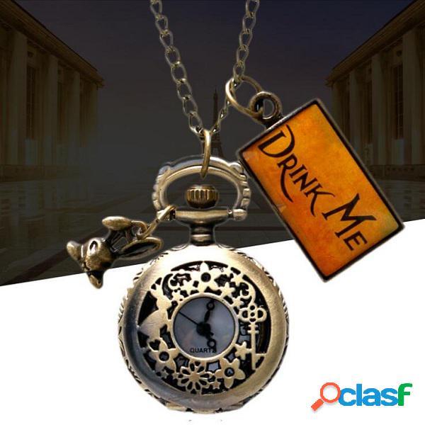 Relógio de bolso de quartzo relógio de bolso do vintage oco flor estrelas padrão relógio de jóias étnicas para mulheres dos homens