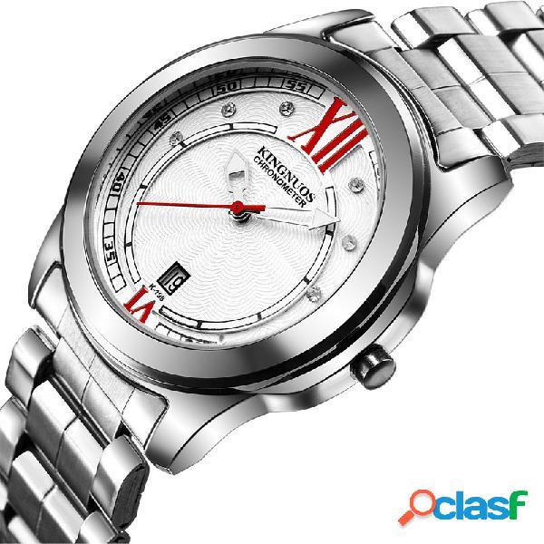 Luxo mens relógios de prata vida à prova d 'água diamante inlay data aço inoxidável relógio de quartzo