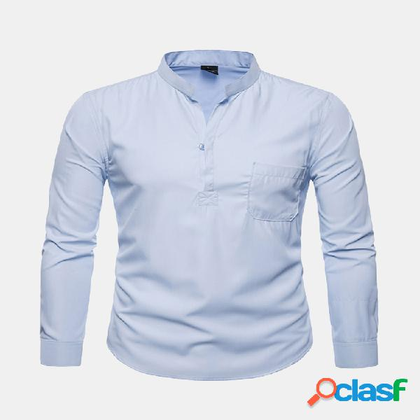 Mens casual cotton respirável solid color stand collar manga comprida botões t shirts