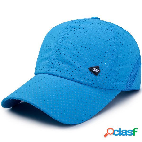 Malha ajustável respirável de verão unissex chapéu boné de secagem rápida esportes ao ar livre beisebol chapéu