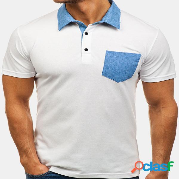 Mens stylish patchwork costura cor verão negócios casual golf camisa